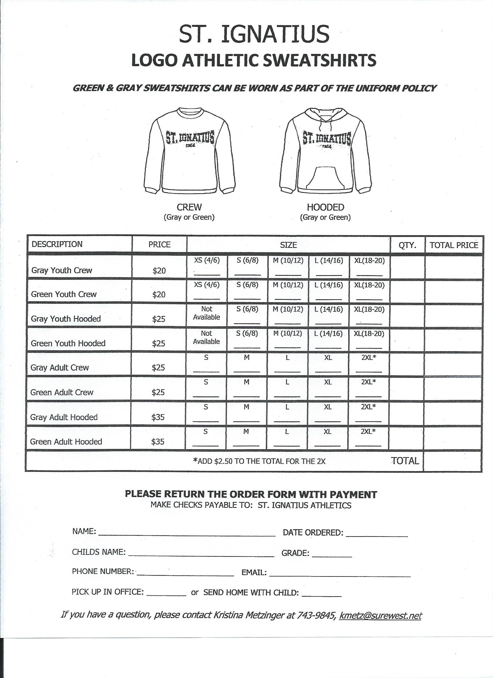 Logo Wear Sweatshirts - St. Ignatius Parish School