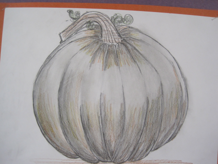 pumpkin drawing with shading. pumpkin drawings emphasizing shading and form, 8th grade drawing with ,