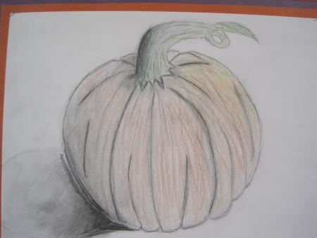 pumpkin drawing with shading. pumpkin drawings emphasizing shading and form, 8th grade drawing with n