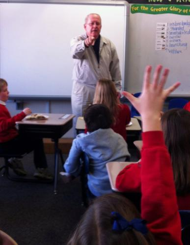 Fr. Mike visits a classroom.