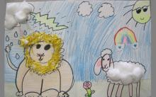 "1st Grade. March: ""In like a Lion, Out Like a Lamb"" textural drawings"